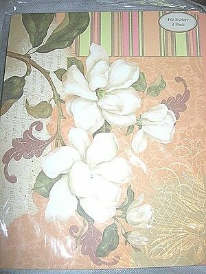 6 Peach Green White Paisley Flower File Folders Nip Flowers Victorian Decorated