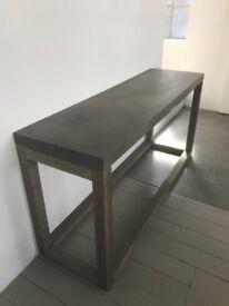 Neptune Vintage metal and wooden industrial style table with four chairs
