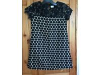 Girl Occasion Dress in Size 7 year old Black with White Polka Dots