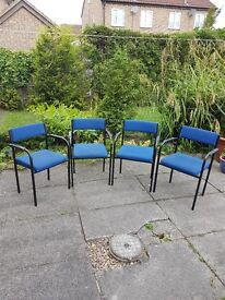 4 Royal Blue used office chairs
