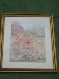 Water Colour Painting of Flowers and Trees in a Walled Garden by P Clough