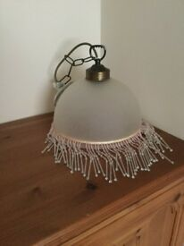 Retro Tiffany Style Pink Frosted Light shade with Beaded Fringe