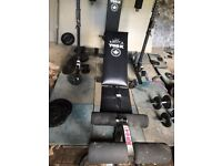 York 3000 power station gym , bench , 150 Kgs metal free weights barbells dumbells etc.