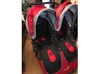 Baby City Mini Double pushchair with newborn carrycots