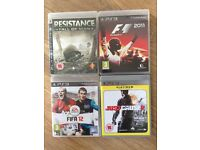 Playstation 3 Games: FIFA12 + Just Cause2 + Resistance Fall of Man + F1 2011