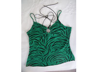 Women's Evie green/black animal print effect halter & strappy top. Size 10-12.