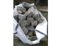 Reclaimed granite cobblestones