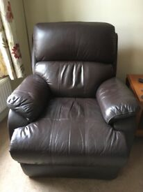 One manual One electric leather recliners
