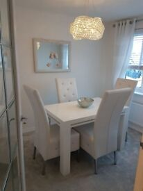 White high gloss dining table & 4 faux leather chairs