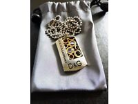 Mens Dolce & Gabbana Designer Dog Tags Necklace, Stainless Steel, New, Unique Piece