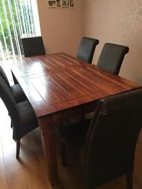 M&S dining table and 6 distressed leather chairs