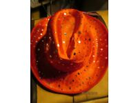 RED COWGIRL HAT WITH SILVER PATTERN ON NEW PARTY OR HEN DO HAVE MORE HATS FOR SALE