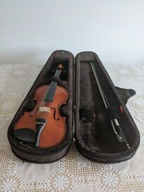 one second hand half violin for sale without bow used by one person only