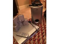 JVC System with built-in DVD, includes Subwoofer, 5 x Speakers and Remote Control