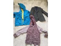 Rain coat, blazer and a hoodie