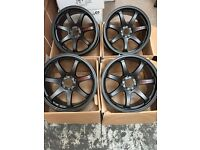 17 inch GTR SPORT ALLOY WHEELS ALLOYS/RIMS IN BLACK Racing fits HONDA - NISSAN RENAULT - FIAT LOTUS