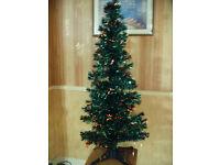 Fibre Optic Christmas Tree Dark Green Tinsel 5ft