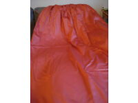 """Pair of quality made to measure russet red lined curtains, 100"""" W X 72"""" D, ex John Lewis"""