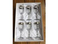 Italian crystal wine glasses. Set of six. Brand new in box.