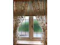 Pair of luxury sheer pure silk Embroidered curtains and tiebacks