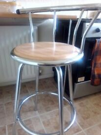 Metal and wood stool