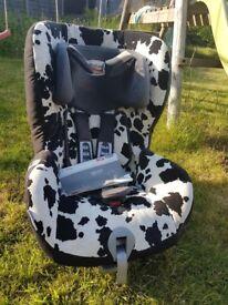 Britax King plus group 1 car seat in cow print