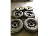 "Set of 6 Landrover defender 16"" Steel Wheels and tyres"
