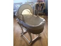 MOSES BASKET WITH WOODEN ROCKING STAND MOTHERCARE PLUS BEDDING Bundle