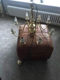 Brass light fitting , 8 bulb holders large fitting with ceiling chain