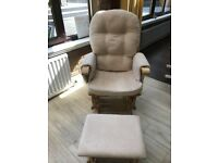 Feeding chair reclines with stool