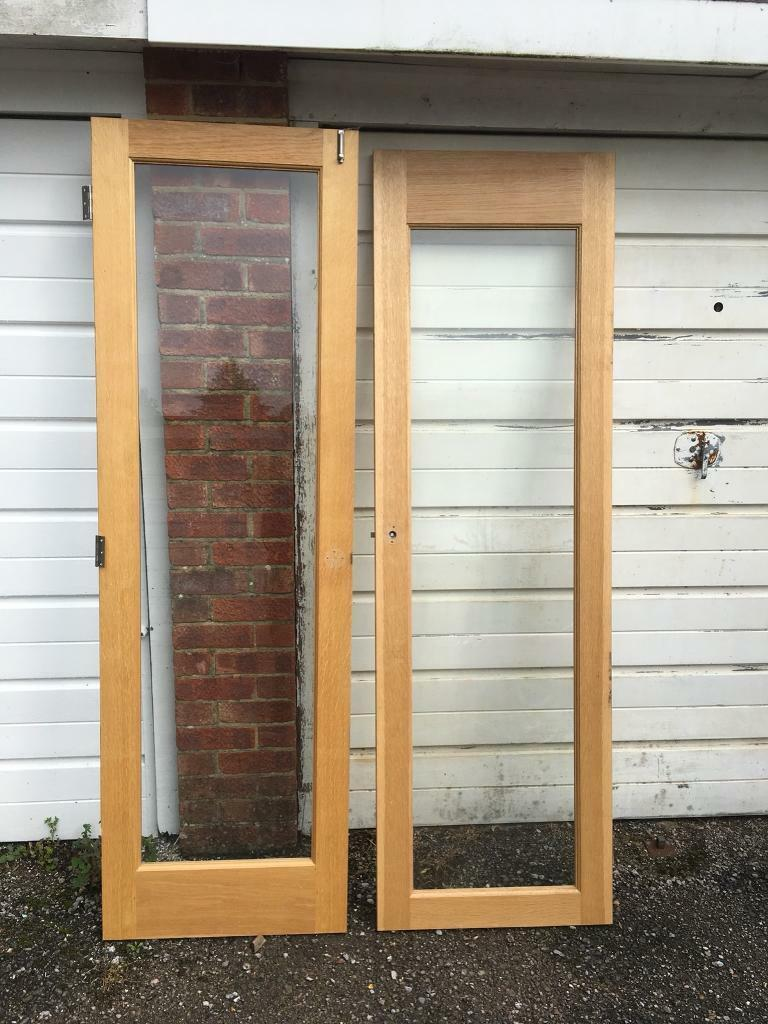Oak frames clear glazed Glass interior French doors