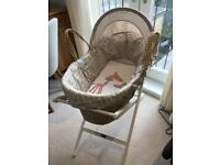 Mamas and Papas Moses basket, mattress, mattress cover, coverlet and stand