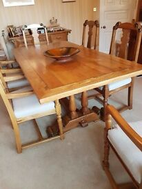 Solid Table and 6 carver chairs