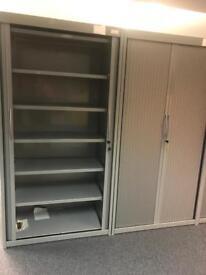 Grey Metal Tambur Units (with keys & Shelves)