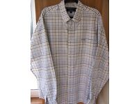 FACONNABLE MENS SHIRT XXL REGULAR FIT. BROWN/BLUE/WHITE CHECK