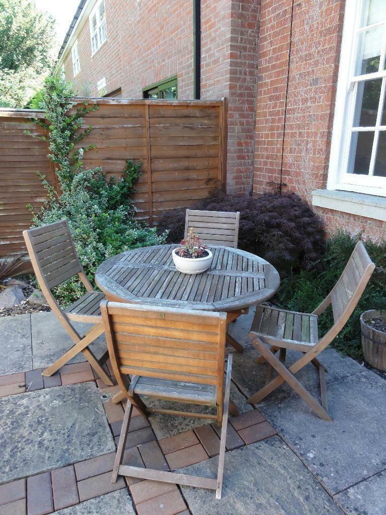 Round wooden garden table & chairs, seats 4 | in Market ...