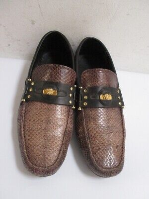 VERSACE Men's Leather Loafers Medusa Head Logo Size 41 / US 8