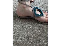 Stunning TEAL flat sandals size 3