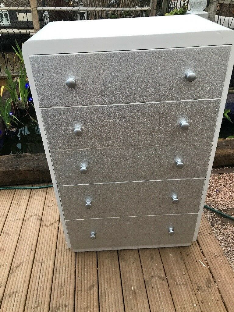 Large Chest of Drawers painted white   Decoupaged silver glitter  fc82cc34d
