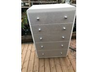Large Chest of Drawers painted white & Decoupaged silver glitter