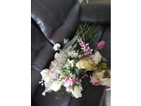 Box of wedding bits flowers vases ect