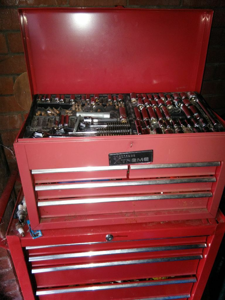 red metal tool storage unit full of spanners, hand tools, many new