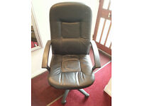 Leather office chair, swivel, on castors, nice & comfortable, £10