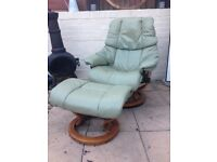 Olive Green Leather Ekornes Stressless Reclining - Recliner Armchair - Chair and footstool L👁👁K