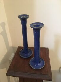Two handmade ceramic candlesticks