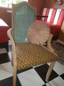 Retro upcycled chair with new cushion