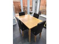 Oak Effect Dining Table & 4 Brown Leather Chairs