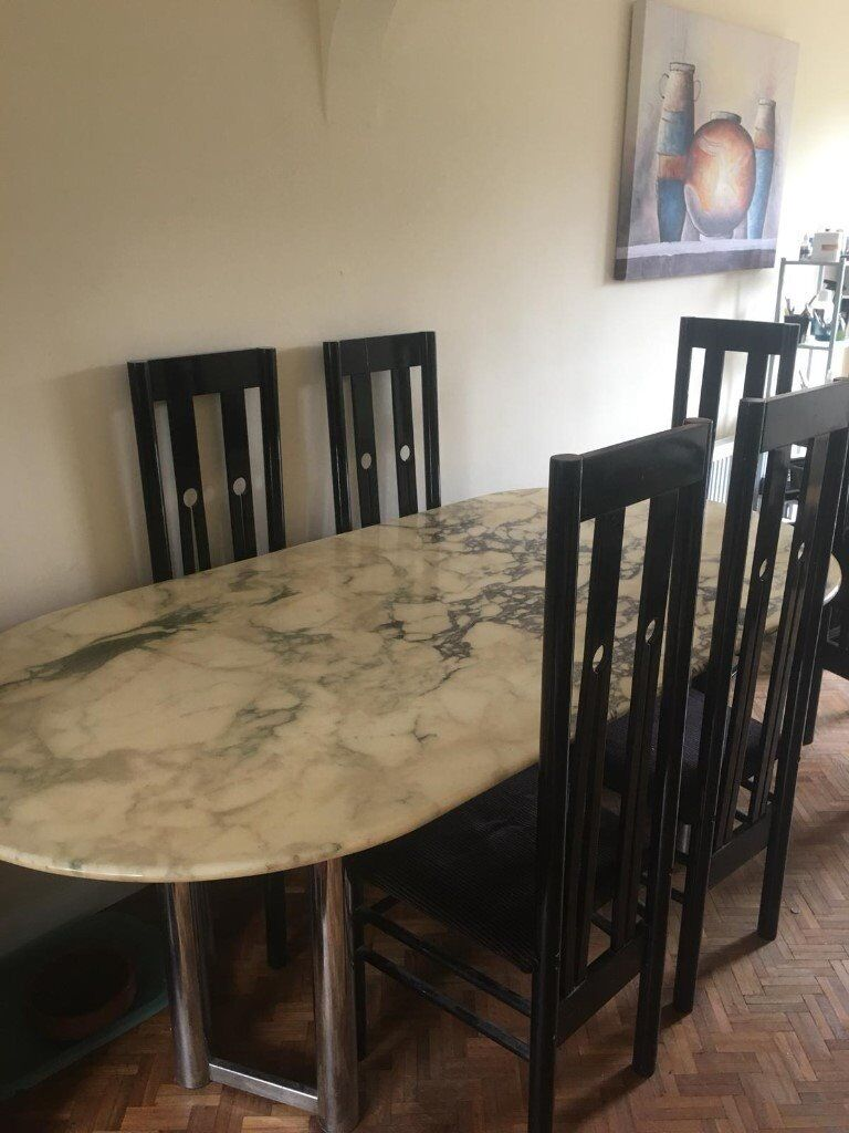 Marble Dining Room Table With 6 Mackintosh Style Black Chairs