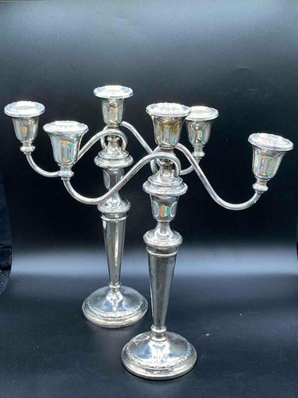 Vintage PAIR Frank Whiting Sterling Silver 3-Lite Candelabras Talisman Rose 2057