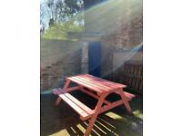 Pink picnic bench - PENDING